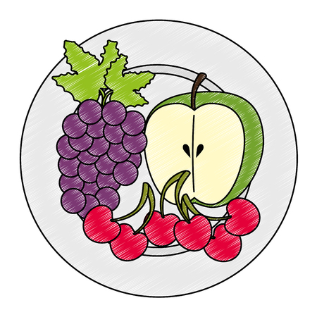dish with fruits healthy food vector illustration design