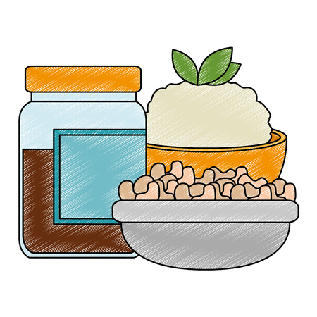 sweet jam bottle with rice and vegetables vector illustration design Stockfoto - 111987004