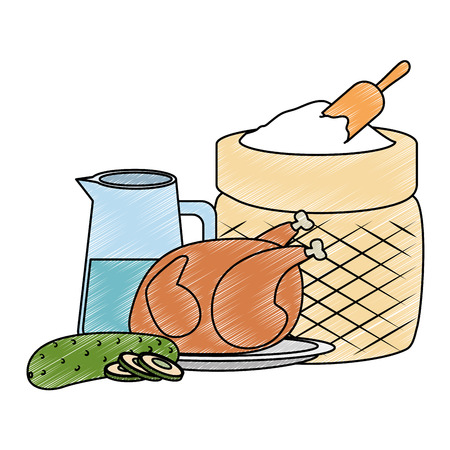 flour sack with water and chicken vector illustration design Standard-Bild - 111987006