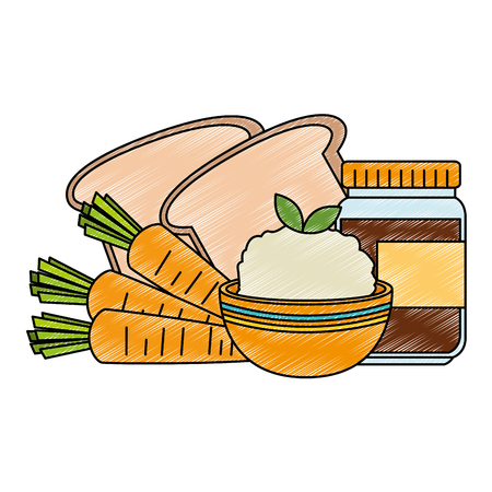 fresh bread with rice and carrot vector illustration design Çizim