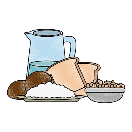 fresh bread toast with water jar vector illustration design Stock Vector - 111987015