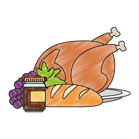 kippenvlees en gezond voedsel vectorillustratieontwerp