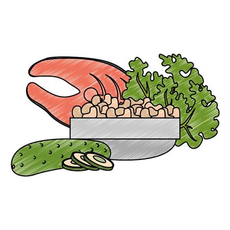 steak, poisson et légumes, vecteur, illustration, conception