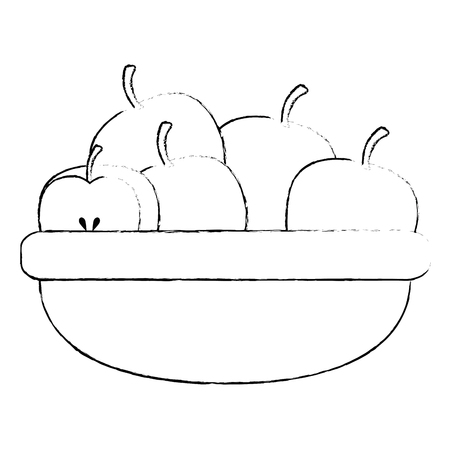 kitchen bowl with apples vector illustration design