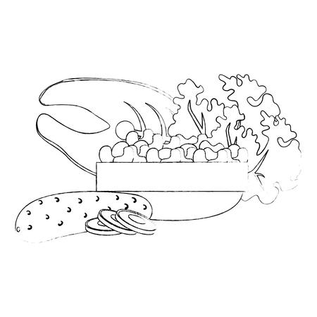 steak fish and vegetables vector illustration design
