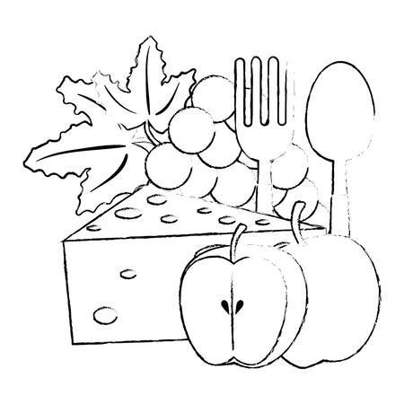 morceau de fromage et fruits vector illustration design