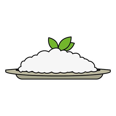 dish with rice and leafs food vector illustration design Ilustração