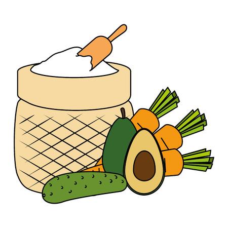flour sack with vegetables vector illustration design Standard-Bild - 106518271