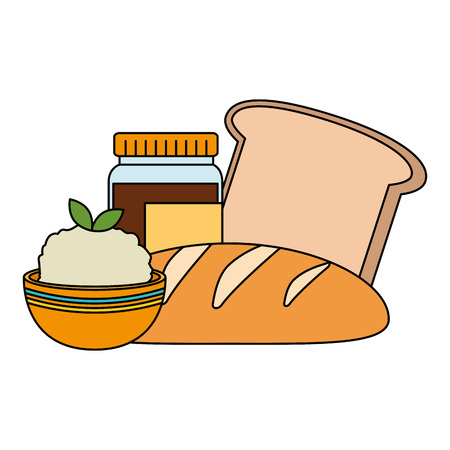 fresh bread with rice vector illustration design