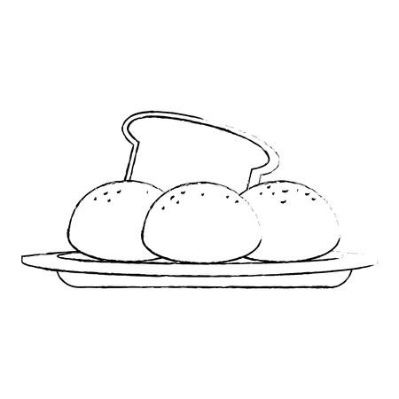 fresh bread with potatoes vector illustration design Illustration