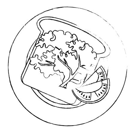 fresh bread with fruits and vegetables vector illustration design Standard-Bild - 111987062