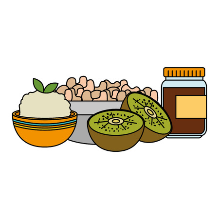 mushroom with kiwi and rice vector illustration design