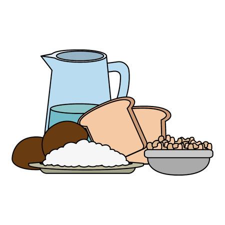 fresh bread toast with water jar vector illustration design Archivio Fotografico - 106518273