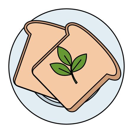 fresh bread toast and leafs vector illustration design Standard-Bild - 111987072