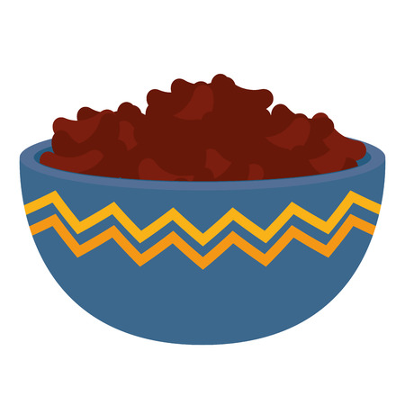 kitchen bowl with beans black vector illustration design Ilustração