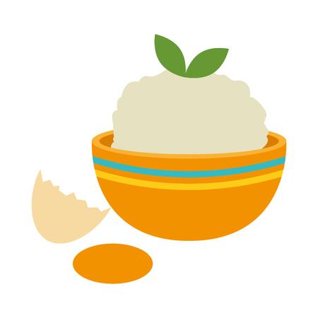 kitchen bowl with mashed potatoes and egg broken vector illustration Standard-Bild - 106518278