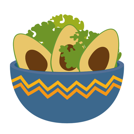 kitchen bowl with lettuce and avocados vector illustration design