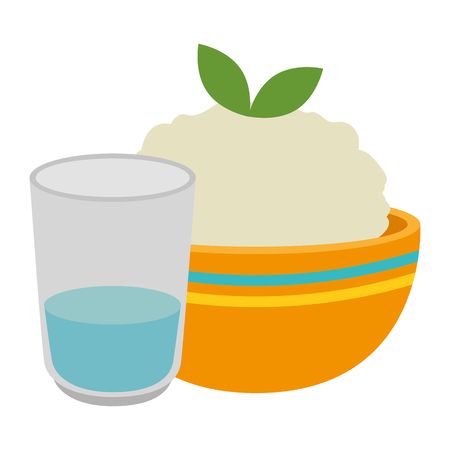 kitchen bowl with mashed potatoes and water glass vector illustration design