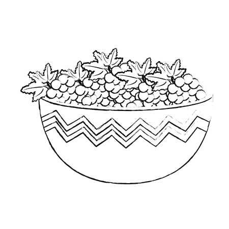 fresh bowl with grapes healthy food vector illustration design 일러스트