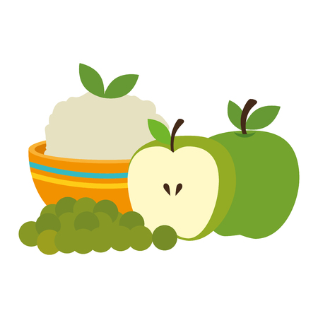 kitchen bowl with mashed potatoes with apples vector illustration design Standard-Bild - 111987096