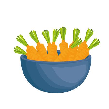 fresh carrots in bowl vegetarian food vector illustration design