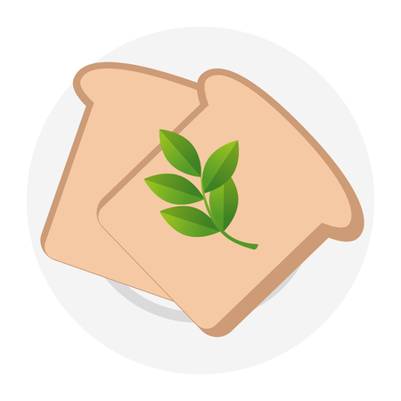 fresh bread toast and leafs vector illustration design