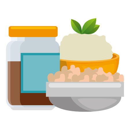 sweet jam bottle with rice and vegetables vector illustration design