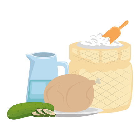 flour sack with water and chicken vector illustration design