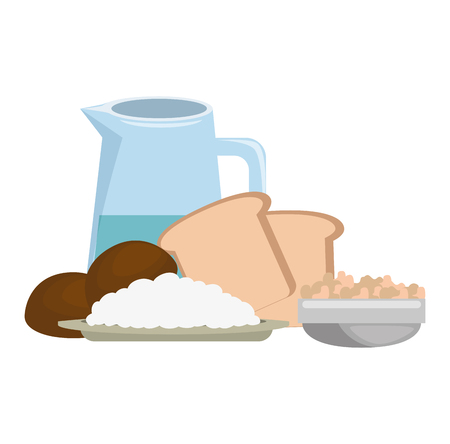 fresh bread toast with water jar vector illustration design