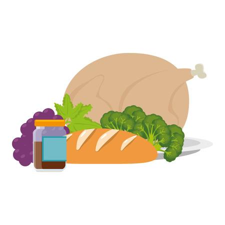 viande de poulet et conception d'illustration vectorielle des aliments sains