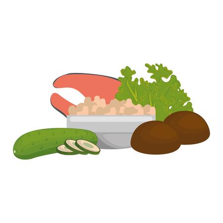 steak, poisson et légumes, vecteur, illustration, conception Vecteurs