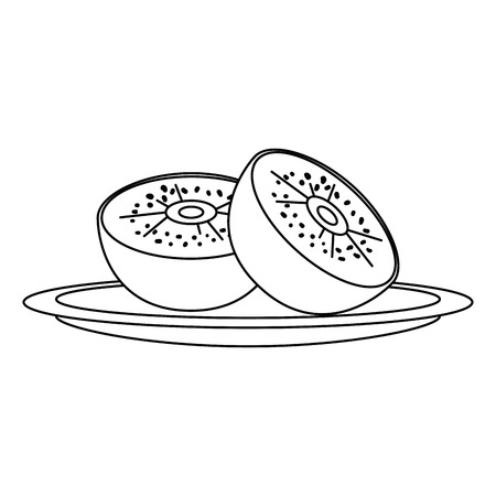 fresh kiwi healthy food vector illustration design