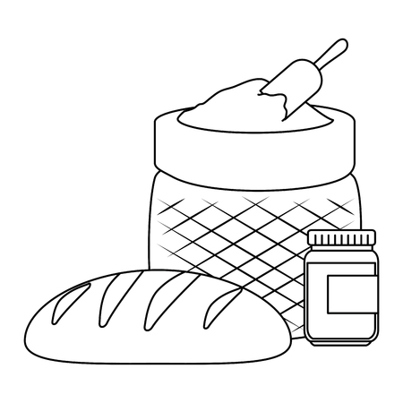 fresh bread with flour sack vector illustration design