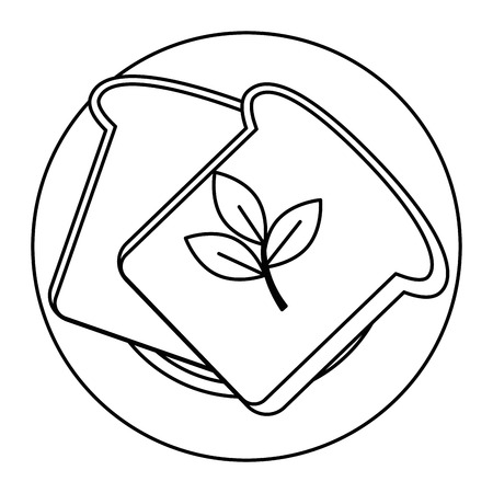 fresh bread toast and leafs vector illustration design Ilustrace