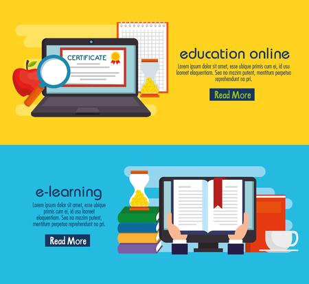 Bildung auf Linie setzen Ikonen Vektor-Illustration Design