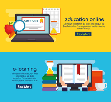 education on line set icons vector illustration design