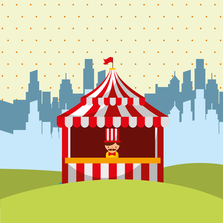 salesman booth circus in the city vector illustration