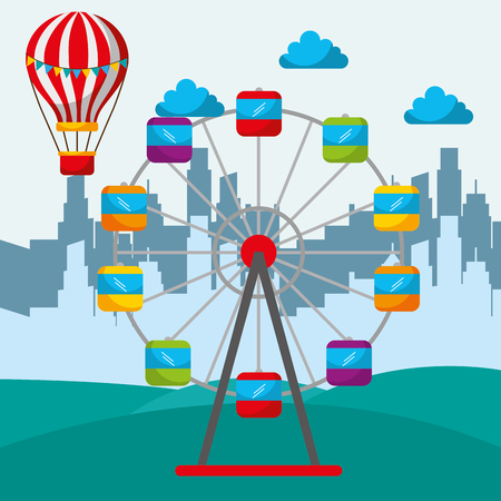 silhouette of a city and amusement circus ferris wheel and hot air balloon vector illustration Illustration