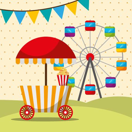 carnival fair festival booth food and ferris  wheel vector illustration