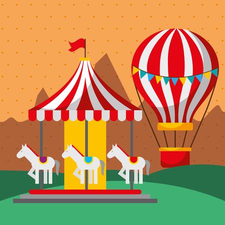 carousel and hot air balloon carnival fun fair festival vector illustration