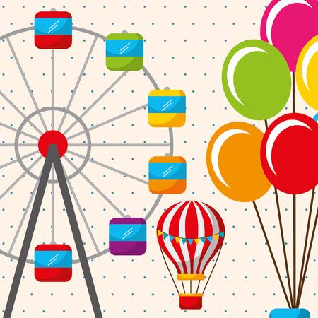 hot air balloon ferris wheel carnival fun fair festival vector illustration