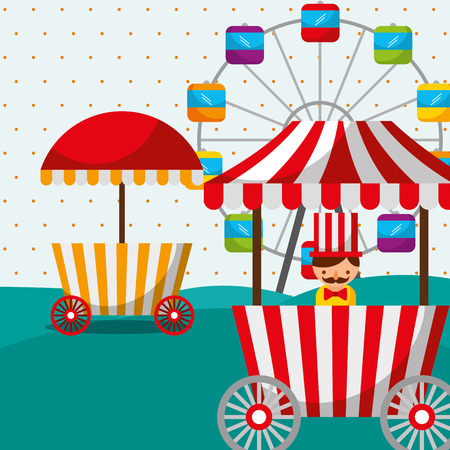 ferris wheel booth food sellerman carnival fun fair festival vector illustration Ilustração