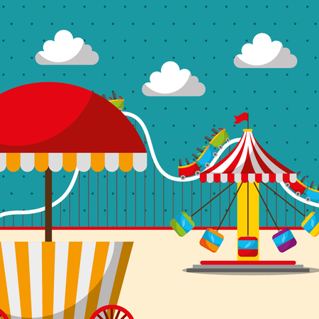 carousel chair roller coaster and food booth carnival fun fair festival vector illustration Illustration