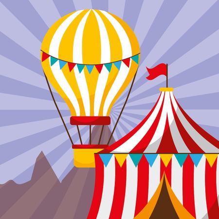 tent and hot air balloon carnival fun fair festival vector illustration