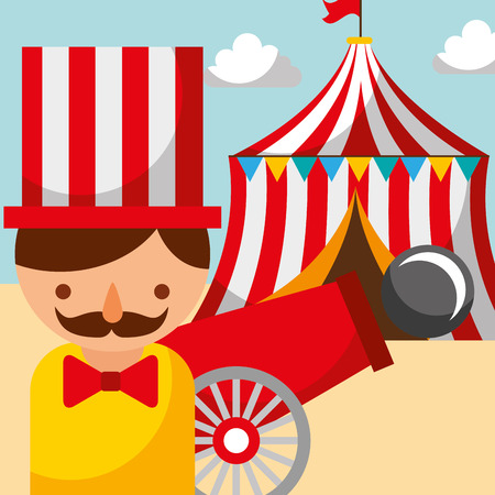 man cannon and tent carnival fun fair festival vector illustration