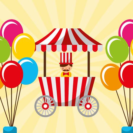 salesman booth food and balloons carnival fun fair festival vector illustration