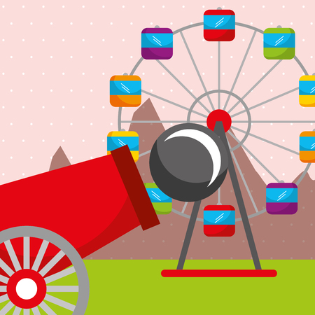 cannon ferris wheel carnival fun fair festival vector illustration Ilustração