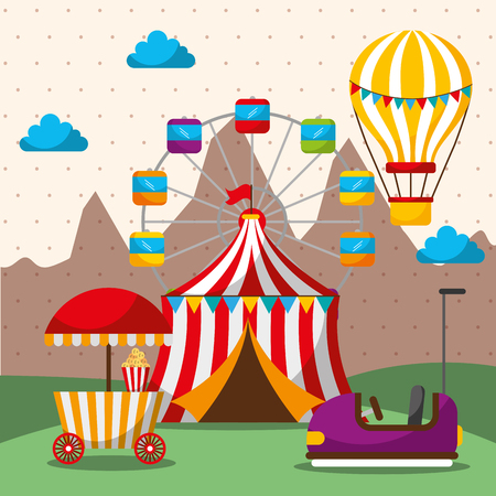 tent ferris wheel hot air balloon bumper car carnival fun fair festival vector illustration