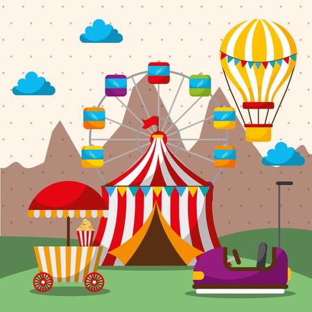 tent ferris wheel hot air balloon bumper car carnival fun fair festival vector illustration