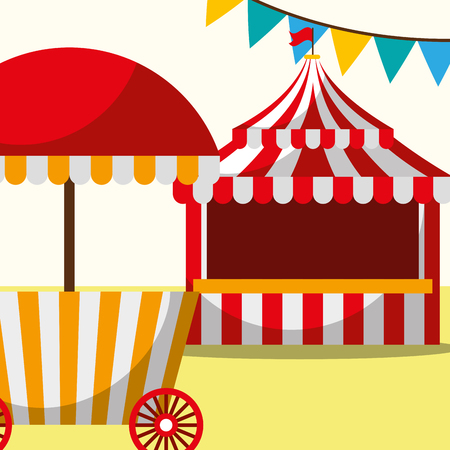 tent and food booth carnival fun fair festival vector illustration